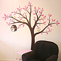 Flowing Tree Bird House with Birds - Vinyl Sticker Wall Decals for Girl or Boy Nursery
