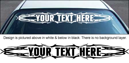 Tribal 001 Windshield Decal with Custom Text