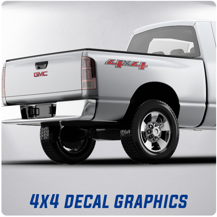 4x4 Full Color Decals | Pick up Truck Decals | American Flag 4 x 4
