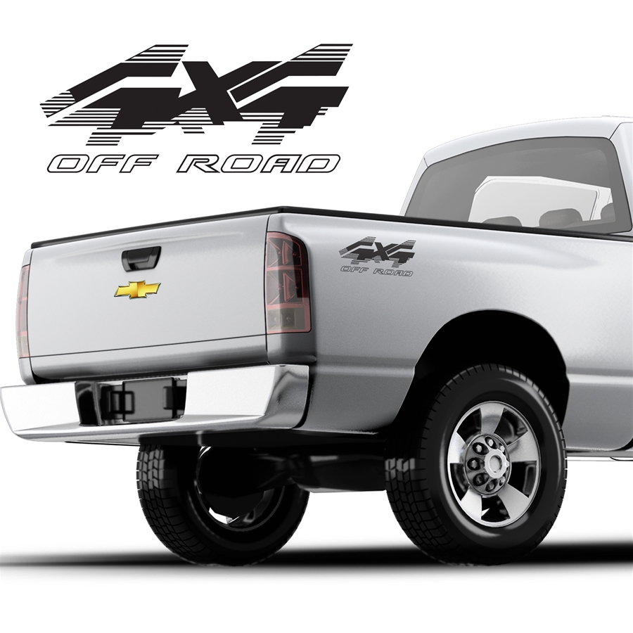 4x4 Lined Truck Decal Single Color DS-011