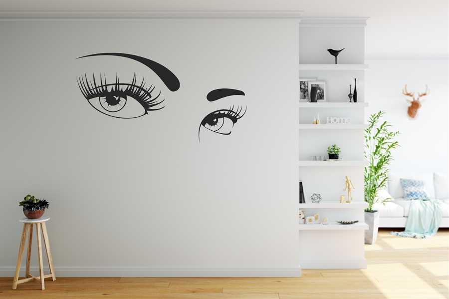 Beautiful Eyes with Long Eyelashes - Hair Salon Wall Decal
