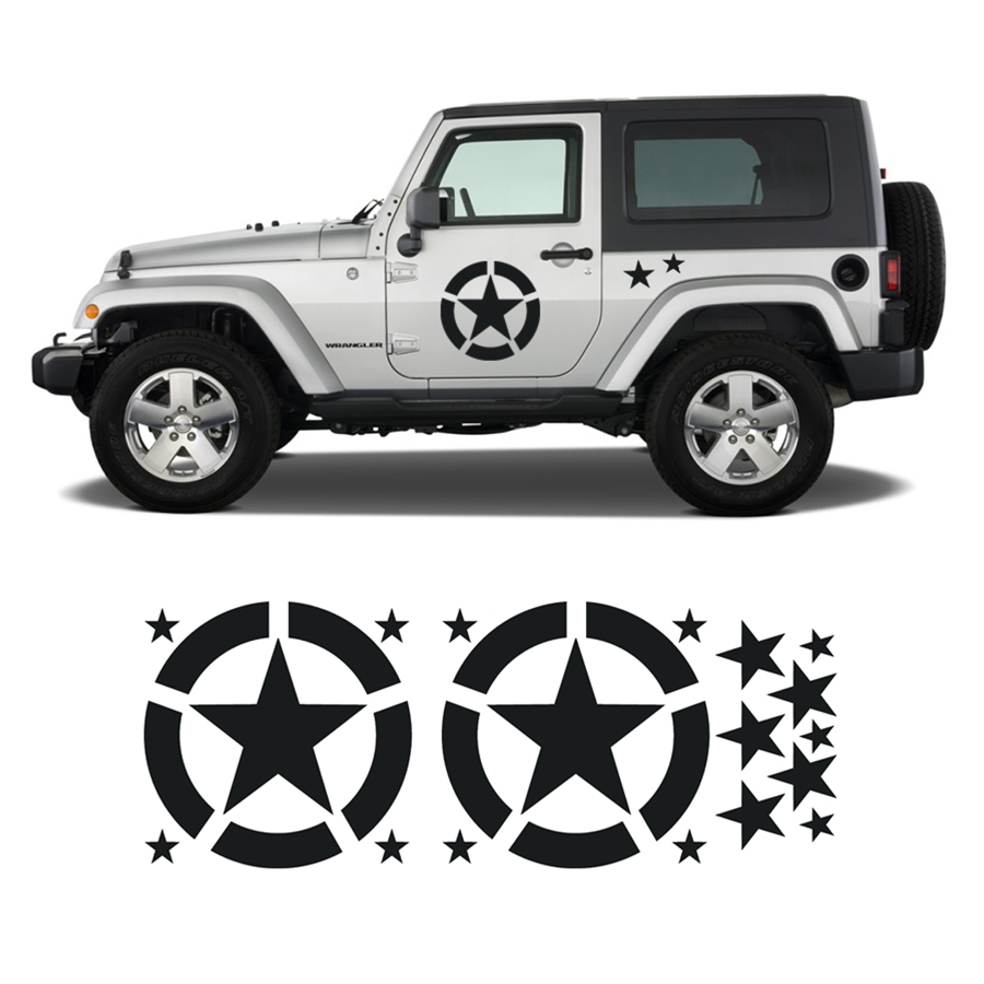 Invasion Star Door Decals for Military Army Jeep