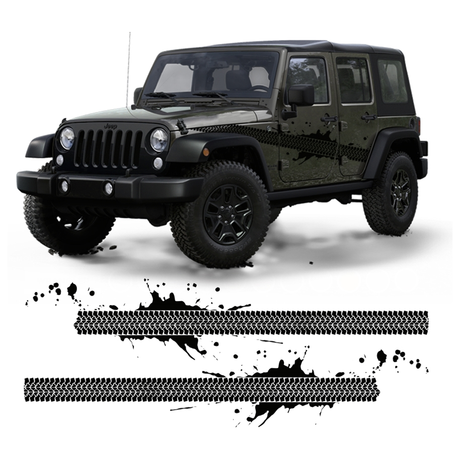 Jeep JK TJ Tire Thread Decal with Mud