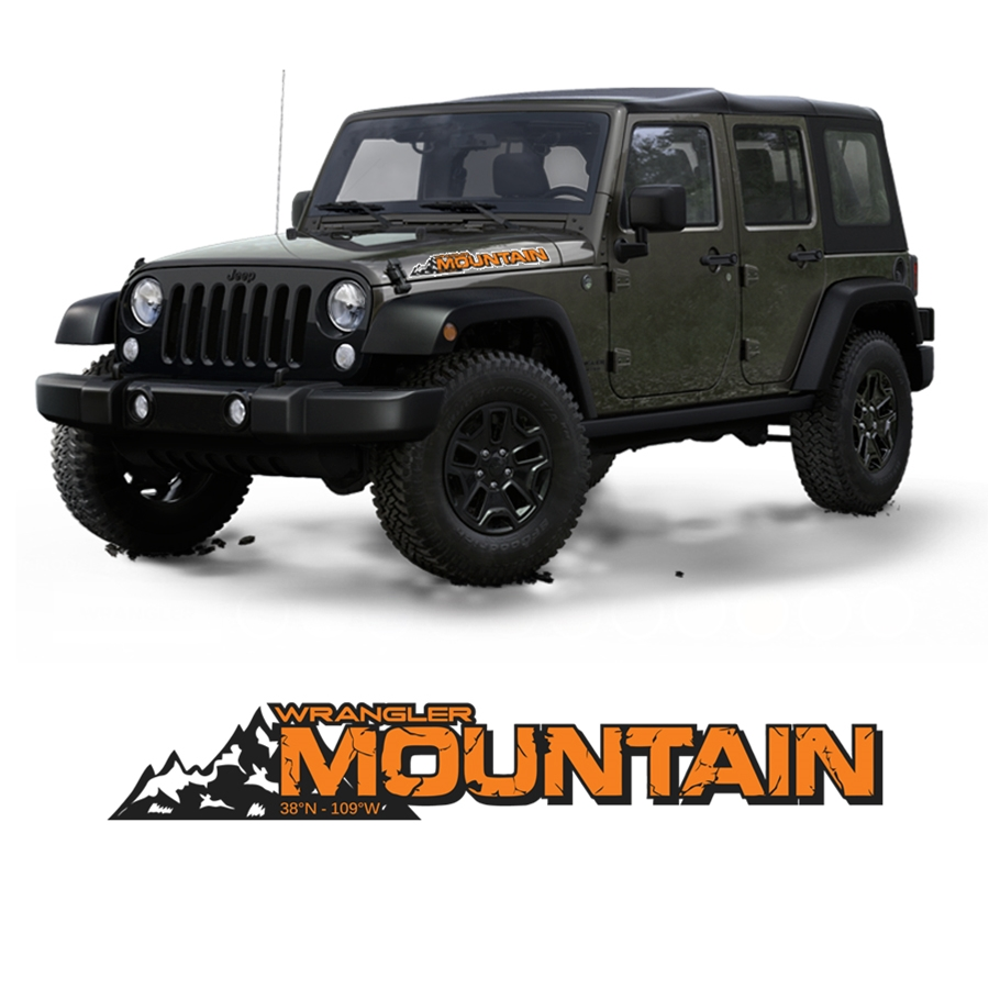 Jeep Wrangler JK Mountain Edition Decal 38N - 109W Orange Hood Sticker