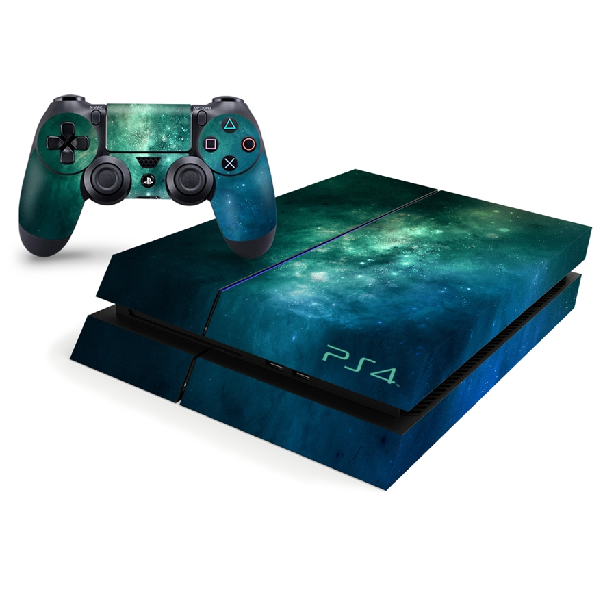 Playstation 4 Console Skin - Teal Galaxy Space Decal