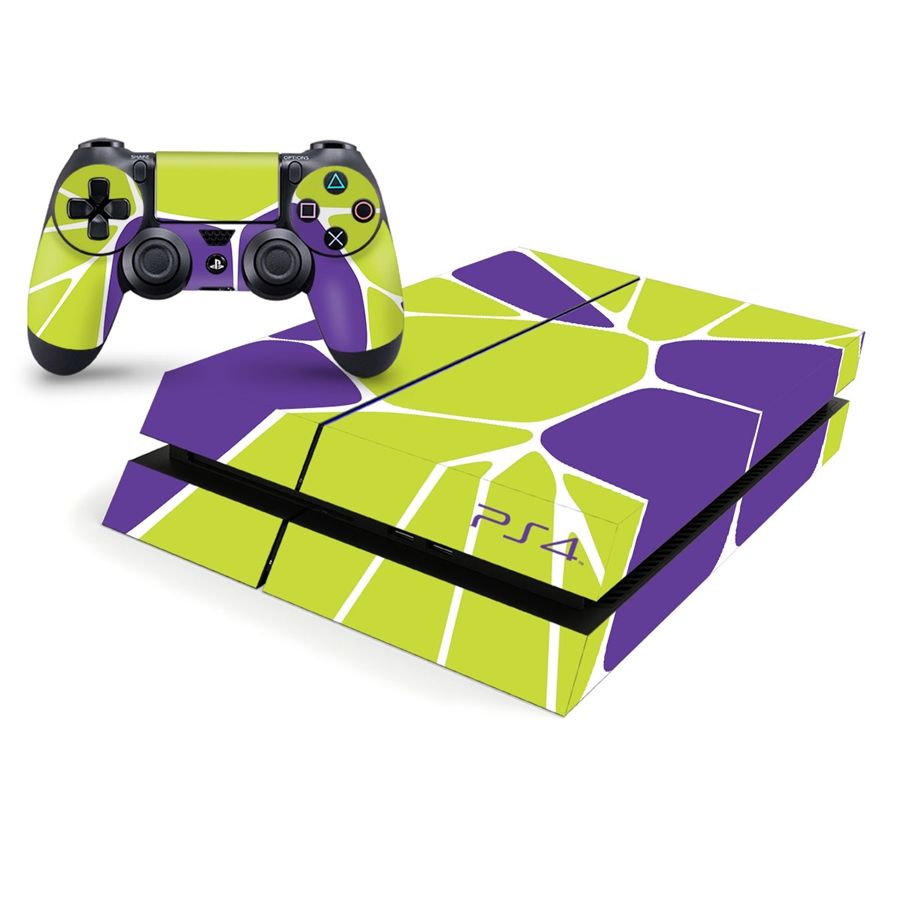 Playstation 4 Console Skin - Lime Green and Purple