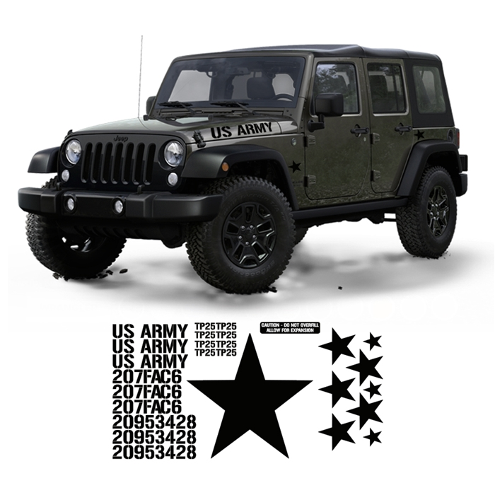 Jeep Jk Wrangler Military Decal Set Kit