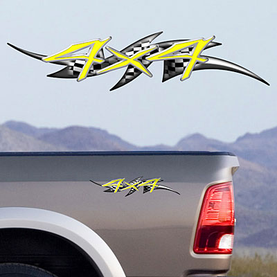 4x4 Color Full Color Decals TDG003 (Style 106, Yellow)
