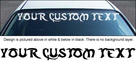 Tribal Font Windshield Decal with Custom Text
