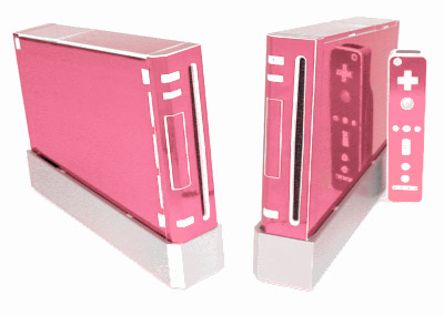 Pink Chrome Skin for Nintendo Wii